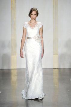 Sheath/Column Lace V-neck Embroidery Beading Court Train Wedding Dress - Dreamy-dress.com