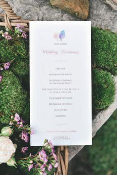 Lovely program. Photography by Lisa Poggi Photography | lisapoggi.com, Event Planning + Design by Chic Weddings in Italy | chicweddingsinitaly.com, Floral Design by La Rosa Canina | larosacaninafioristi.it/rosacanina.html, Read more - http://www.stylemepretty.com/2013/06/18/tuscany-wedding-from-lisa-poggi-photography/