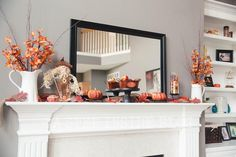 Mantel  Decorations : IDEAS &  INSPIRATIONS : Fall Decorating Ideas &  Fall Mantel with Pumpkins