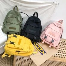 Hot New Fashion Backpack Solid Color School Bags For Teenage Girl Casual Travel Backpack Big Capacity Canvas Bag Women Bagpack Trendy Backpacks, Kids Backpacks, School Backpacks, Leather Backpacks, Leather Bags, Backpack Travel Bag, Canvas Backpack, Fashion Backpack, Travel Bags