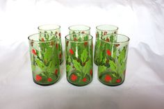 Vintage Green Glass Christmas Holly Berry Drinking by BeeHavenHome