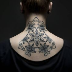 And I can finally post my pride and joy! My design done by the wonderful @olafstaube. Thank you so much!  #tattoo #ink #inked #blacktattoo  #blackwork #blackworktattoo #backtattoo #necktattoo #latvian #latvia #dotwork #dotworktattoo #latvjuraksti #latvija