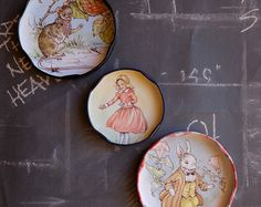 Alice in wonderland fridge magnets kitchen magnets retro magnets magnet set refrigerator magnets upcycled jar lids office magnets small gift