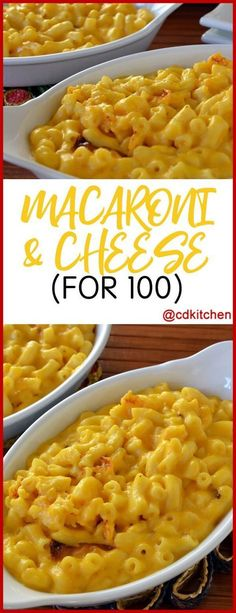 Macaroni & Cheese For 100 - This mac and cheese recipe is great for large groups and is made doubly cheesy and creamy with both velveeta and cheddar cheese. Velveeta cheese is designed to melt more evenly than freshly grated cheeses so you'll always get a Velveeta Mac And Cheese, Macaroni Cheese Recipes, Cheddar Cheese, Cheese Bar, Cheese Platters, Making Mac And Cheese, Mac And Cheese Recipe For A Crowd, Recipe For Macaroni Cheese, Recipes