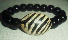 Black wood beads bracelets by sweetiebel on Etsy, $13.50