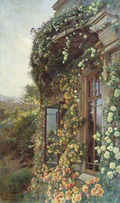 Iosif Evstafevich Krachkovsky - Spring in Crimea (Rose), 1900. Oil on canvas, 160 x 96 cm. Tyumen Regional Museum of Fine Arts, Russia. Masterpieces of Russian Painting