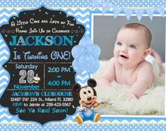 Custom Baby Mickey Mouse Birthday Invitations by itsJenuine Mickey Mouse Birthday Invitations, Mickey Mouse First Birthday, Baby Mickey Mouse, Invitation Examples, Digital Invitations, Printable Invitations, Invitation Templates, Balloon Invitation, Invite