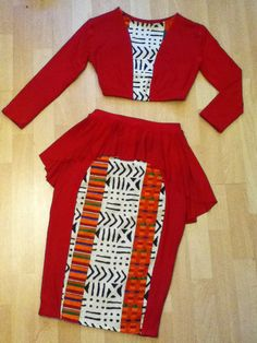 2pc Peplum Pencil Skirt Set with African Print - 'RedFox'. $74.00, via Etsy.