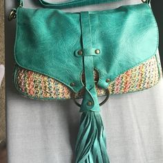 Summer crossbody purse! Used summer crossbody purse with adjustable strap. The strap can also be removed. Perfect size. Fits wallet, phone, and room for extras, but not too big so it's getting in the way. Buckle Bags Crossbody Bags