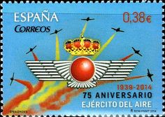 Stamp: Anniversary of the Air Force (Spain) (Anniversaries) Mi:ES 4897 Air Force, Spain, Stamp Collecting, Christmas Ornaments, Holiday Decor, Stamps, Strength, Military, Spanish