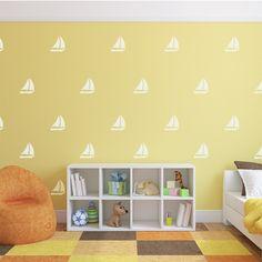 Stunning Sail Boat Pattern Wall Decal Nursery Wall Decals Nautical Sea Wall Decor Sailing Decals Kids Room Wall Sticker Pattern Ocean Room Decor