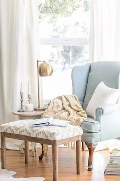 7 Must-Haves for Creating a Reading Nook - looking for a floor lamp in a similar style to the table lamp..would go great for reading curled up in my teddy bear chair!