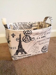 Paris Themed Bathroom Set | Paris themed Fabric Storage Basket Eiffel Tower, France