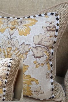 a fresh version of English country style. pillows with refined details