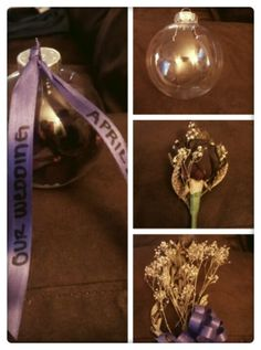 Plastic clear ornament ball with dried flowers from your wedding. Beautiful way to display flower and not worry about them getting ruined.