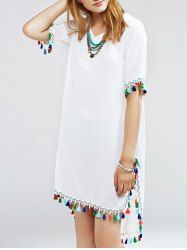 Stylish Multicolor Fringed Furcal Dress For Women