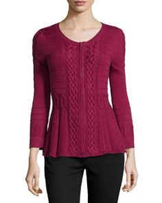 T8X8J Neiman Marcus Cable-Knit Detailed Zip Cardigan, Vintage Cabernet