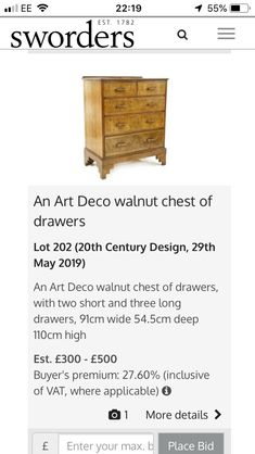 Chest Of Drawers, Art Deco, Furniture, Design, Home Decor, Dresser Table, Homemade Home Decor, Drawer Unit, Dresser Drawers