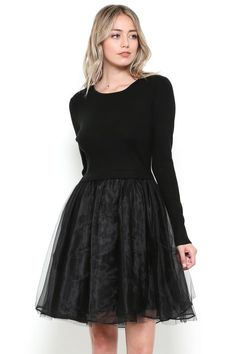 Nina Sweater Dress with Tulle Skirt Petite Sweaters, Petite Outfits, Petite Dresses, Petite Clothing Stores, Pear Shaped Dresses, Fit And Flare Skirt, Skirt Outfits, Long Sleeve Sweater
