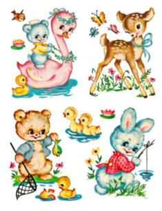 trendy ideas for baby animals painting cribs Vintage Toys, Vintage Art, Vintage Stuff, Painting A Crib, Tole Painting, Baby Animals, Cute Animals, Bunny Drawing, Vintage Nursery