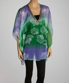 Love this Green & Purple Embellished Cape-Sleeve Tunic - Women on #zulily! #zulilyfinds