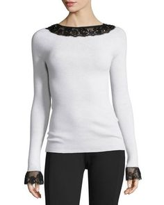 OSCAR DE LA RENTA Lace-Trim Boat-Neck Wool Top, White/Black. #oscardelarenta #cloth #