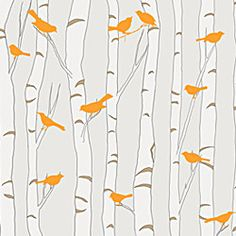 Removable & Reusable Birds & Birch - Neutral and Orange - modern - wallpaper - dc metro - by Casart Coverings