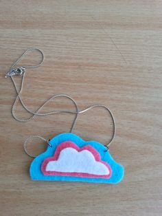 blue white purple cloud necklace &chain with felt by 6street, $3.00