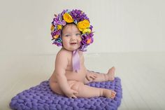 Flower Bonnet Baby hat Garden Bonnet Sitter Bonnet by FashionTouch