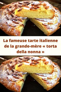 "The famous Italian pie of the grandmother ""torta della nonna"", Quick Dessert Recipes, Quick Easy Desserts, Easy Cake Recipes, Dessert Party, Best Rhubarb Recipes, Make French Toast, Chocolate Cake Recipe Easy, Cake Chocolate, Sent Bon"