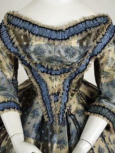 Dinner dress Date: 1855–59 Culture: British Medium: silk, cotton Dimensions: Length at CB (a): 13 in. (33 cm) Length at CB (b): 48 1/2 in. (123.2 cm)
