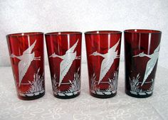 Set of 4 Vintage RUBY Red GLASS Tumblers by TheTinRoofCottage, $18.00