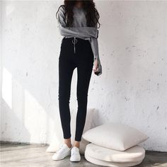 itGirl Shop FRONT ZIPPER RING BLACK SKINNY JEANS Aesthetic Apparel, Tumblr Clothes, Soft Grunge, Pastel goth, Harajuku fashion. Korean and Japan Style looks