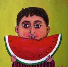 Mexican Painting Esau Andrade Boy Eating Watermelon Niño Comiendo Sandía