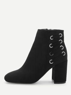 ef5207dede Casual Almond Toe Side zipper Black High Heel Chunky Block Heeled Ankle  Boots Block Heel Ankle