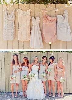 Coordinated, but not matchy-matchy bridesmaids dresses. Cute! Love the photo idea...