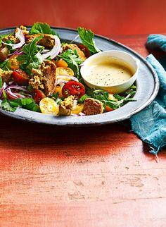 kikkererwten-citroenfalafel met tahinidressing Falafels, Tahini Dressing, Sauce Tahini, Vegetable Recipes, Lunches, Salads, Dinner Recipes, Vegetarian, Yummy Food