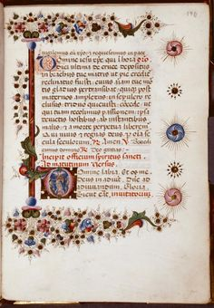 Page of text with small historiated initial of Pentecost. - ID: 427607 - NYPL Digital Gallery