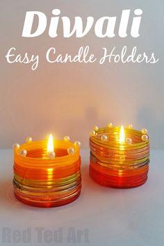 Diwali Candle Holder for kids. Make your own DIYA with kids this Diwali. Gorgeous Diwali Light Activity #Diwali #DIYA #kids