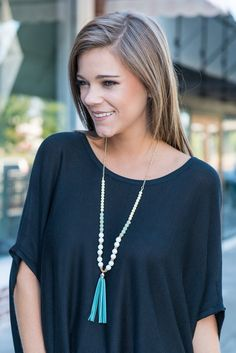 """""""Blissful Beads Necklace, Blue""""You are going to be truly blissful once you have this necklace in your possession! It will go with so many outfits!! The colors are gorgeous and light which makes this necklace a fab choice! #newarrivals #shopthemint"""