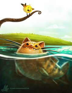 Daily Paint #989. Cat-fish (OA) by Cryptid-Creations.deviantart.com on @DeviantArt