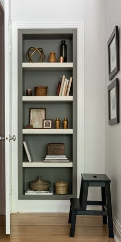 Painted bookshelves More A classic bookshelf is an essential part of any stylish home — and not just to wrangle treasured volumes. When they're organized with flare, they treat . Painted Built Ins, Painted Bookshelves, Built In Bookcase, Decorating Bookshelves, Bookshelf Styling, Bookcases, Shelf Inspiration, Decoration Inspiration, Classic Bookshelves
