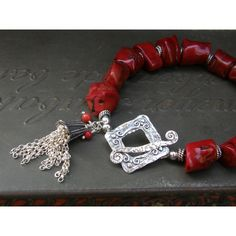 Artisan Red Coral Chunky Bracelet with Sterling Silver Tassel and... (€120) ❤ liked on Polyvore featuring jewelry, bracelets, chunky sterling silver jewelry, chunky jewelry, boho chic jewelry, sterling silver bangles and sterling silver jewellery
