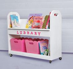 Library Book Cart @ Ana-White.com We really need this or, better yet, something to hold the books that could be hauled to and from the library.  We get so many books...