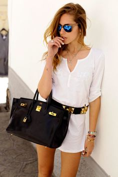 The Blonde Salad - white summer dress with rockstar accessories