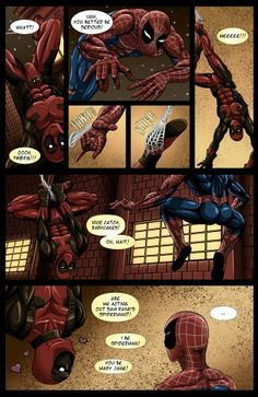 """Page 4 of the #Spideypool comic """"Never say never"""""""
