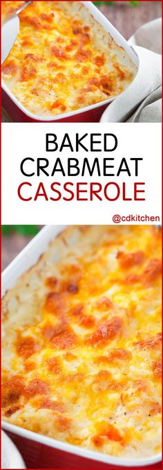 Baked Crabmeat Casserole - Recipe is made with Parmesan cheese, margarine, onion, crabmeat, Dijon mustard, Worcestershire sauce, egg white | CDKitchen.com