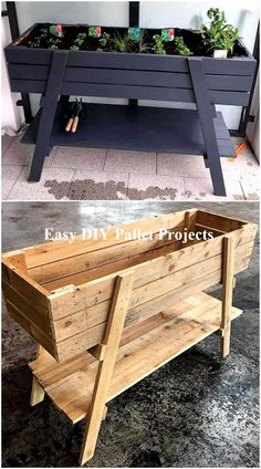 New Projects for Wood Pallet Reusing - Planters - Ideas of Planters - It is the heartiest wish of everyone to have the delicate planter structure at home in which he/she can grow beautiful flowers and fresh plants. But today we are here to Diy Furniture Hacks, Diy Pallet Furniture, Painted Furniture, Garden Furniture, Modern Furniture, Rustic Furniture, Antique Furniture, Furniture Movers, Outdoor Furniture