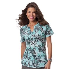 koi Women's Celeste Smocked Animal Print Scrub Top #nurse #doctor #hospitalstyle #medicalstyle #scrubs