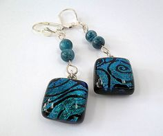 Dichroic Glass Earrings/Fused Glass by DarlenesGlassGarden on Etsy